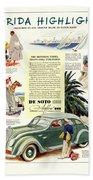 1936 - De Soto Airflow IIi Automobile Advertisement - Color Beach Towel