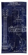 1937 Gibson Electric Guitar Patent Drawing Blue Beach Towel