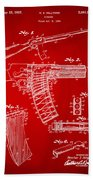 1937 Police Remington Model 8 Magazine Patent Artwork - Red Beach Towel