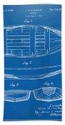 1938 Rowboat Patent Artwork - Blueprint Beach Towel