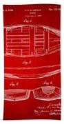 1938 Rowboat Patent Artwork - Red Beach Towel