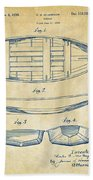 1938 Rowboat Patent Artwork - Vintage Beach Towel by Nikki Marie Smith