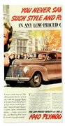 1939 - Plymouth Automobile Advertisement - Color Beach Towel