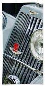 1939 Aston Martin 15-98 Abbey Coachworks Swb Sports Grille Emblems Beach Towel