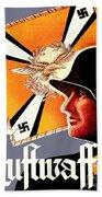1939 German Luftwaffe Recruiting Poster - Color Beach Towel