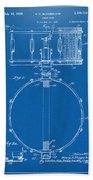 1939 Snare Drum Patent Blueprint Beach Towel
