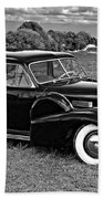 1940 Cadilac Bw Beach Towel