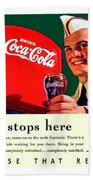 1940 - Coca-cola Advertisement - Color Beach Towel