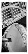 1940 Plymouth Deluxe Woody Wagon Steering Wheel Emblem -0116bw Beach Towel