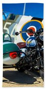 1940 Triumph And Supermarine Mk959 Spitfire  Beach Towel