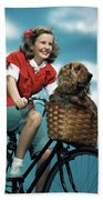 1940s 1950s Smiling Teen Girl Riding Beach Towel
