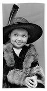 1940s Girl In Oversized Velvet Dress Beach Towel