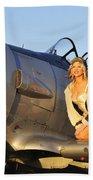 1940s Style Aviator Pin-up Girl Posing Beach Towel