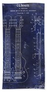 1941 Gibson Electric Guitar Patent Drawing Blue Beach Towel