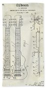 1941 Gibson Electric Guitar Patent Drawing Beach Towel