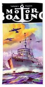 1942 - Motor Boating Magazine Cover - October - Color Beach Towel