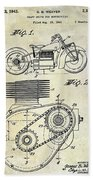 1943 Indian Motorcycle Patent Drawing Beach Towel