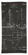 1948 Sailboat Patent Artwork - Gray Beach Towel
