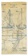 1948 Sailboat Patent Artwork - Vintage Beach Towel