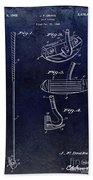1949 Golf Putter Patent Drawing Blue Beach Towel