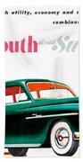 1950 - Plymouth Suburban Station Wagon Automobile Advertisement - Color Beach Towel