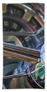 1950 Chrysler New Yorker Coupe Steering Wheel Emblem Beach Towel