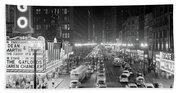 1950s 1953 Night Scene Of Chicago State Beach Towel