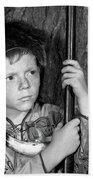 1950s Boy Wearing Raccoon Skin Hat Beach Towel