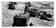 1950s Construction Site Excavation Beach Towel