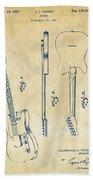 1951 Fender Electric Guitar Patent Artwork - Vintage Beach Towel