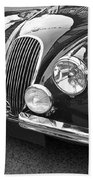 1951 Jaguar Xk120 In Black And White Beach Towel