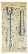 1953 Aerial Missile Patent Vintage Beach Towel