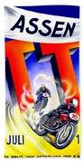 1954 - Assen Tt Motorcycle Poster - Color Beach Towel