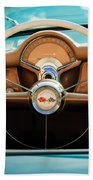 1954 Chevrolet Corvette Convertible  Steering Wheel Beach Towel by Jill Reger