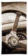 1954 Jaguar Xk120 Roadster Steering Wheel Emblem Beach Towel