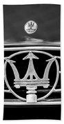 1954 Maserati A6 Gcs Grille Emblem -0259bw Beach Towel