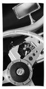 1954 Mg Tf Steering Wheel Emblem -0920bw Beach Towel