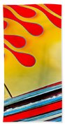 1954 Studebaker Champion Coupe Hot Rod Red With Flames - Grille Emblem Beach Towel