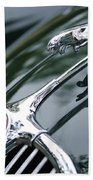 Jaguar Xk 150 Hood Ornament  Beach Towel