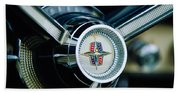 1956 Lincoln Continental Mark II Hess And Eisenhardt Convertible Steering Wheel Emblem Beach Towel
