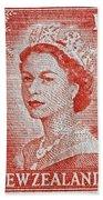 1956 Queen Elizabeth New Zealand Stamp Beach Towel