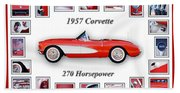 1957 Chevrolet Corvette Art Beach Towel