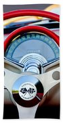 1957 Chevrolet Corvette Convertible Steering Wheel Beach Towel by Jill Reger