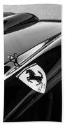 1957 Ferrari Tr 250 - 0714 Emblem -0379bw Beach Towel