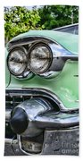1958 Cadillac Headlights Beach Towel