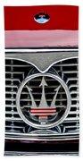 1958 Maserati Hood Emblem Beach Towel