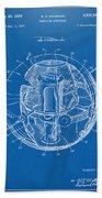 1958 Space Satellite Structure Patent Blueprint Beach Towel