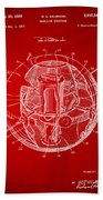 1958 Space Satellite Structure Patent Red Beach Towel