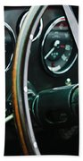 1960 Aston Martin Db4 Gt Coupe' Steering Wheel Emblem Beach Towel