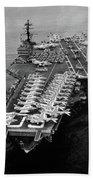 1960s Aerial Of Uss Saratoga Aircraft Beach Towel